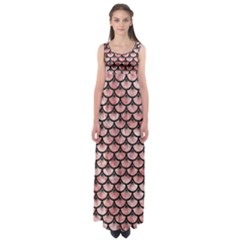 Scales3 Black Marble & Red & White Marble (r) Empire Waist Maxi Dress