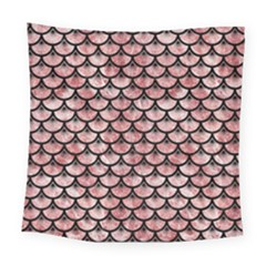 Scales3 Black Marble & Red & White Marble (r) Square Tapestry (large)