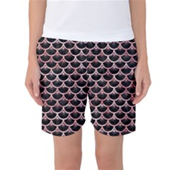 Scales3 Black Marble & Red & White Marble Women s Basketball Shorts
