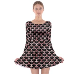 Scales3 Black Marble & Red & White Marble Long Sleeve Skater Dress