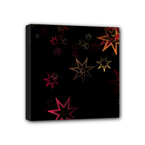 Christmas Background Motif Star Mini Canvas 4  X 4