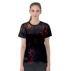 Christmas Background Motif Star Women s Sport Mesh Tee