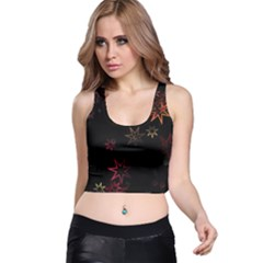 Christmas Background Motif Star Racer Back Crop Top
