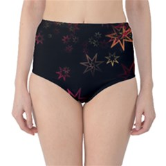 Christmas Background Motif Star High Waist Bikini Bottoms