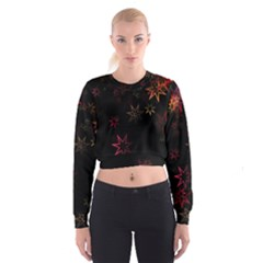 Christmas Background Motif Star Women s Cropped Sweatshirt