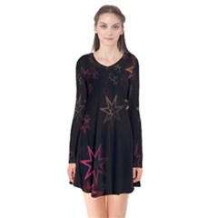 Christmas Background Motif Star Flare Dress