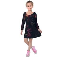 Christmas Background Motif Star Kids  Long Sleeve Velvet Dress