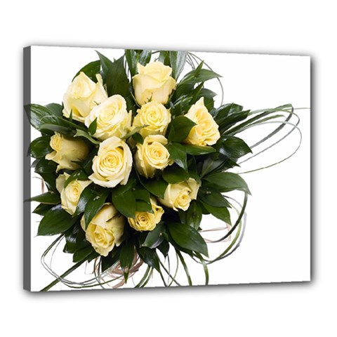 Bouquet Flowers Roses Decoration Canvas 20  X 16