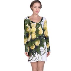 Bouquet Flowers Roses Decoration Long Sleeve Nightdress