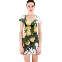 Bouquet Flowers Roses Decoration Short Sleeve Bodycon Dress