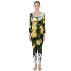 Bouquet Flowers Roses Decoration Long Sleeve Catsuit