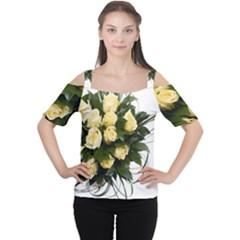 Bouquet Flowers Roses Decoration Women s Cutout Shoulder Tee