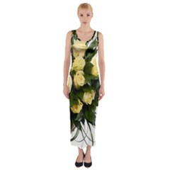 Bouquet Flowers Roses Decoration Fitted Maxi Dress