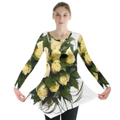 Bouquet Flowers Roses Decoration Long Sleeve Tunic