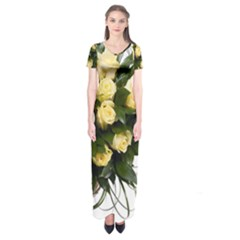 Bouquet Flowers Roses Decoration Short Sleeve Maxi Dress
