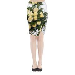Bouquet Flowers Roses Decoration Midi Wrap Pencil Skirt