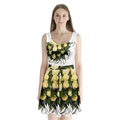 Bouquet Flowers Roses Decoration Split Back Mini Dress