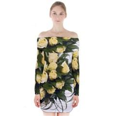 Bouquet Flowers Roses Decoration Long Sleeve Off Shoulder Dress
