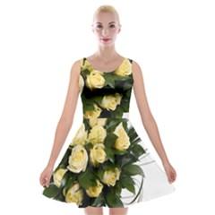 Bouquet Flowers Roses Decoration Velvet Skater Dress