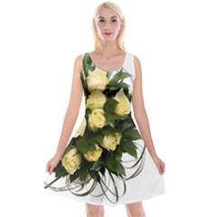 Bouquet Flowers Roses Decoration Reversible Velvet Sleeveless Dress