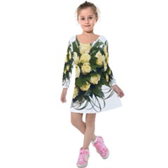 Bouquet Flowers Roses Decoration Kids  Long Sleeve Velvet Dress