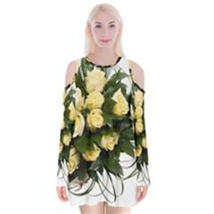 Bouquet Flowers Roses Decoration Velvet Long Sleeve Shoulder Cutout Dress
