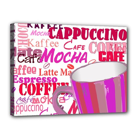 Coffee Cup Lettering Coffee Cup Canvas 16  X 12
