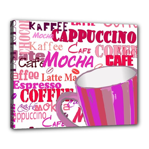 Coffee Cup Lettering Coffee Cup Canvas 20  X 16