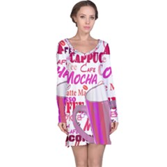 Coffee Cup Lettering Coffee Cup Long Sleeve Nightdress