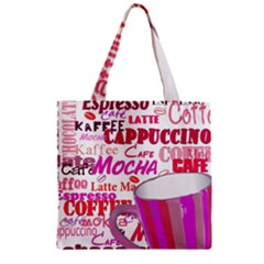 Coffee Cup Lettering Coffee Cup Zipper Grocery Tote Bag