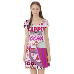 Coffee Cup Lettering Coffee Cup Short Sleeve Skater Dress