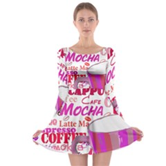 Coffee Cup Lettering Coffee Cup Long Sleeve Skater Dress