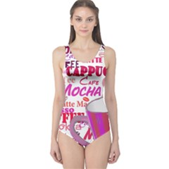 Coffee Cup Lettering Coffee Cup One Piece Swimsuit