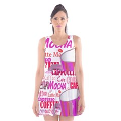 Coffee Cup Lettering Coffee Cup Scoop Neck Skater Dress