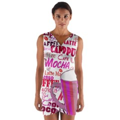 Coffee Cup Lettering Coffee Cup Wrap Front Bodycon Dress