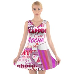 Coffee Cup Lettering Coffee Cup V Neck Sleeveless Skater Dress