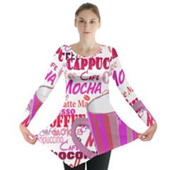 Coffee Cup Lettering Coffee Cup Long Sleeve Tunic