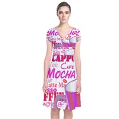 Coffee Cup Lettering Coffee Cup Short Sleeve Front Wrap Dress