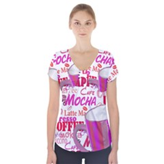 Coffee Cup Lettering Coffee Cup Short Sleeve Front Detail Top