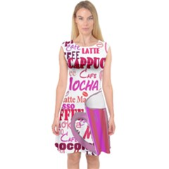 Coffee Cup Lettering Coffee Cup Capsleeve Midi Dress