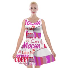 Coffee Cup Lettering Coffee Cup Velvet Skater Dress