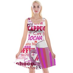 Coffee Cup Lettering Coffee Cup Reversible Velvet Sleeveless Dress