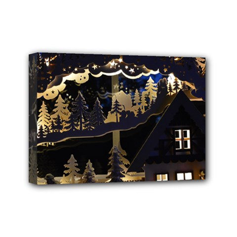 Christmas Advent Candle Arches Mini Canvas 7  X 5