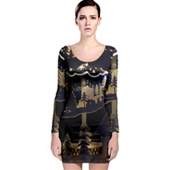 Christmas Advent Candle Arches Long Sleeve Bodycon Dress