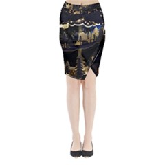 Christmas Advent Candle Arches Midi Wrap Pencil Skirt