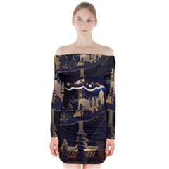 Christmas Advent Candle Arches Long Sleeve Off Shoulder Dress