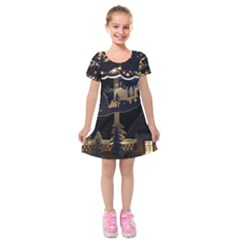 Christmas Advent Candle Arches Kids  Short Sleeve Velvet Dress