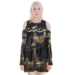 Christmas Advent Candle Arches Velvet Long Sleeve Shoulder Cutout Dress