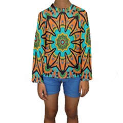 Color Abstract Pattern Structure Kids  Long Sleeve Swimwear