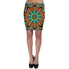Color Abstract Pattern Structure Bodycon Skirt